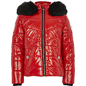 Girls red high shine padded coat