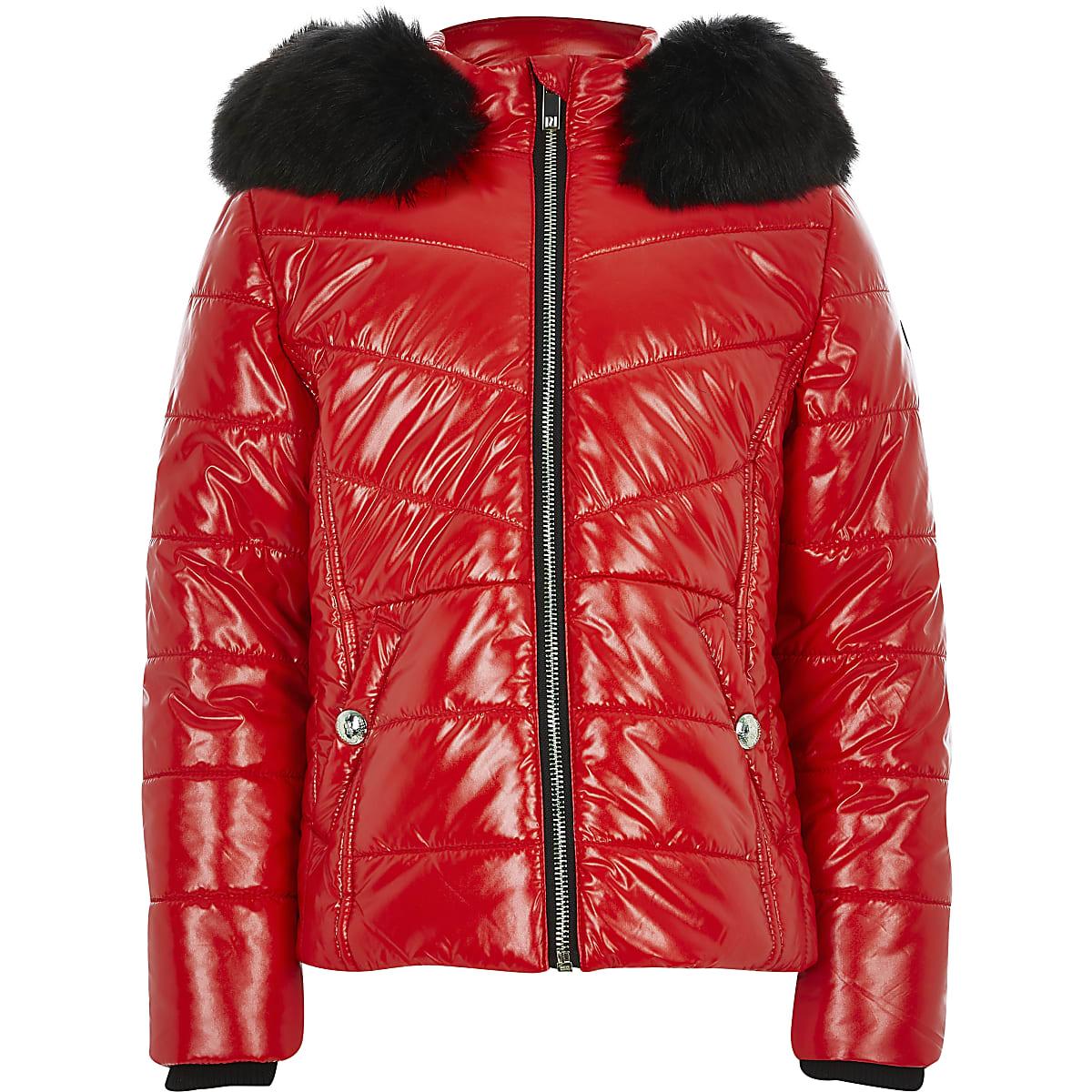 Girls red high shine padded coat
