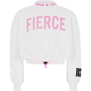 """Weißes Crop-Sweatshirt """"Fierce"""" für Mädchen"""