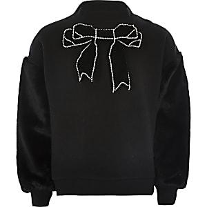 Schwarzes Sweatshirt mit Kunstfellärmeln und Schleife für Mädchen