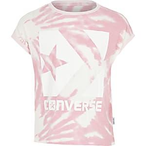 Converse – T-shirt rose effet tie-dye pour fille