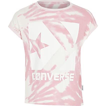 Girls pink Converse tie dye T-shirt