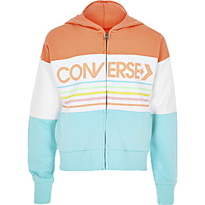 Girls Converse white stripe zip hoodie
