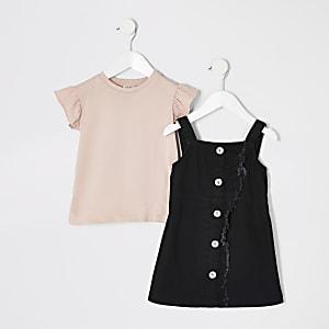 Tenue avec robe chasuble roseà carreaux Mini fille