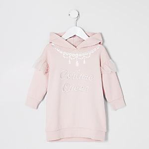 Mini – Rosa Sweatshirtkleid mit Print für Mädchen