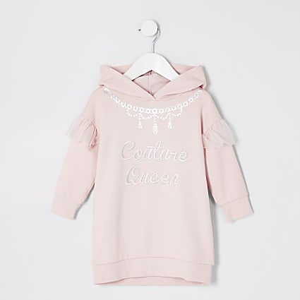 Mini girls pink printed sweatshirt dress
