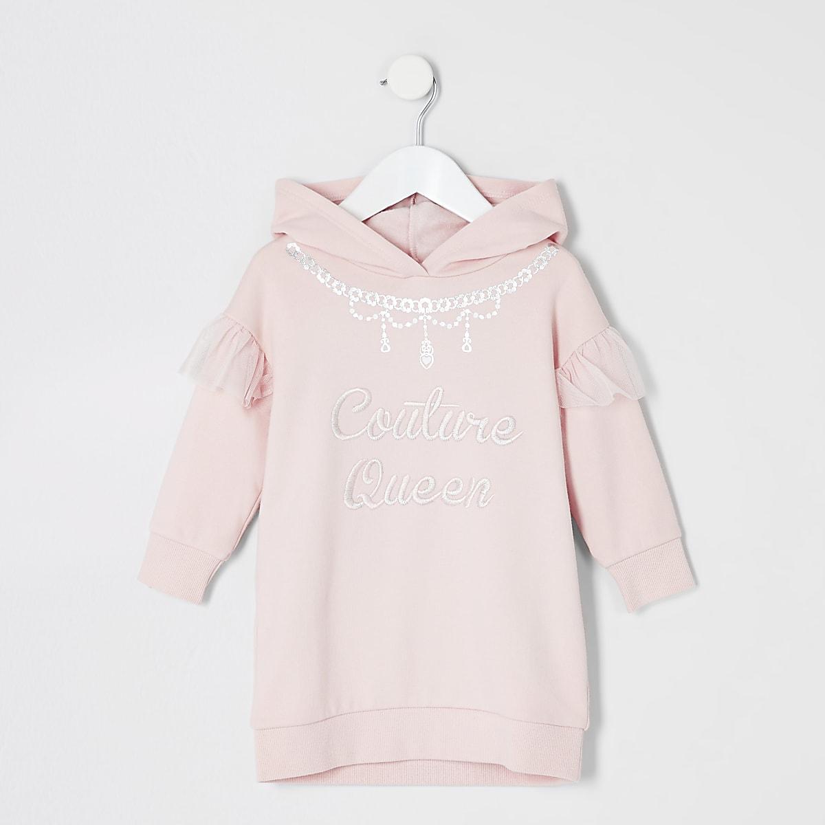 Mini - Roze hoodie-jurk met 'Couture queen'-print voor meisjes