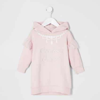 Mini girls pink 'Couture queen' hoodie dress