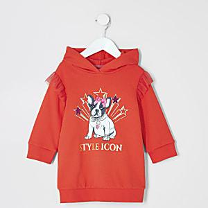 Mini - Rode  trui-jurk met'Styleicon'-print voor meisjes