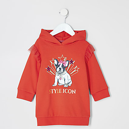 Mini girls red 'Style icon' hoodie dress