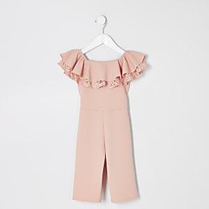 Mini girls pink bardot ruffle jumpsuit