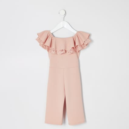 Mini girls pink bardot ruffle jumpsuit