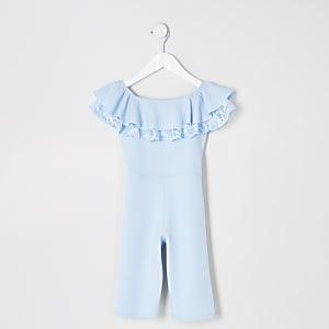 Mini girls blue bardot ruffle jumpsuit
