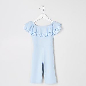 Mini girls blue bardot ruffle jumpsuit