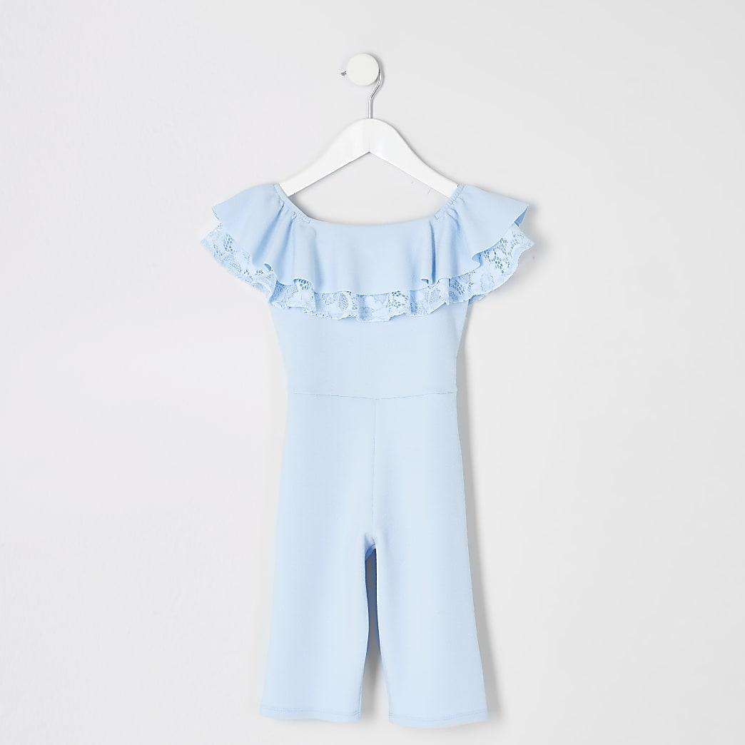 Mini - Blauwe bardotjumpsuit met ruches voor meisjes