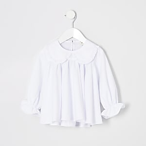 Mini girls white poplin shirt
