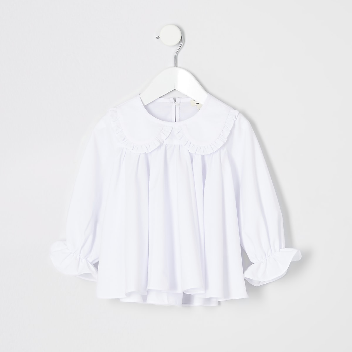 Mini girls white trapeze top