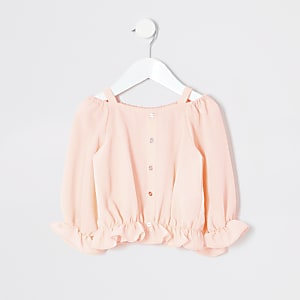 Mini girls coral bardot top