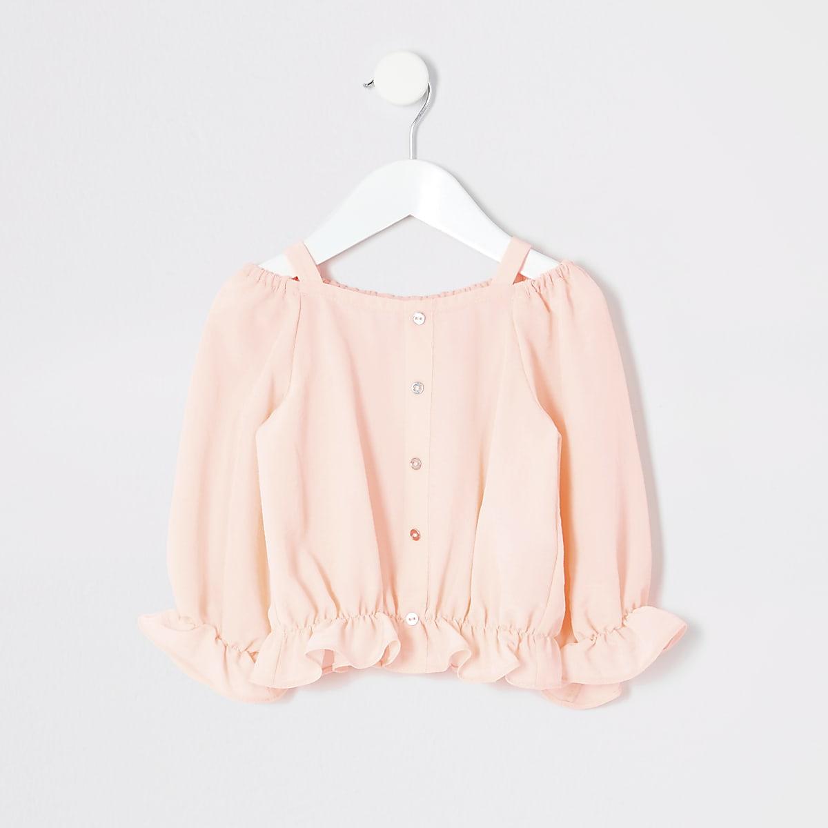 Mini girls coral bardot top