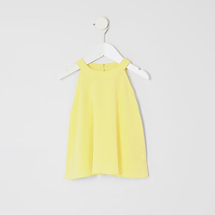 Mini girls yellow trapeze top