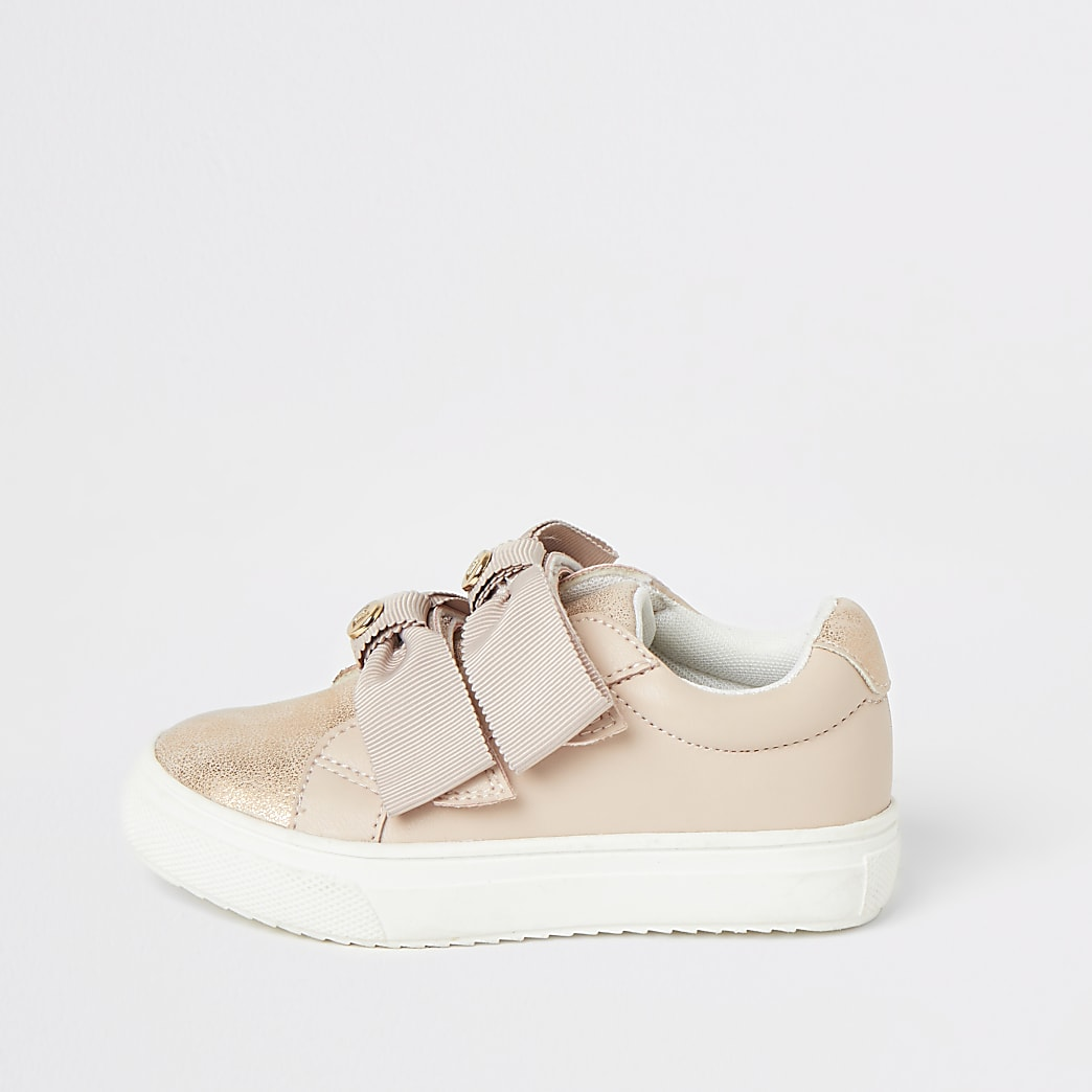 Mini girls pink bow strap trainers