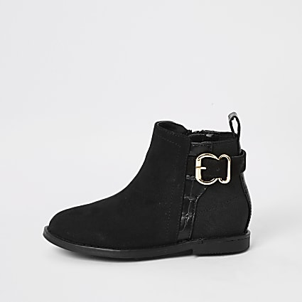 Mini girls black buckle ankle boots