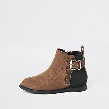 Mini girls brown buckle side ankle boots