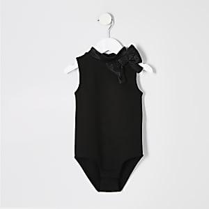 Body noir à nœud mini fille
