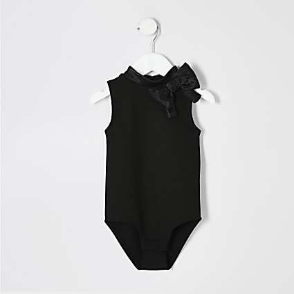 Mini girls black bow bodysuit