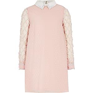 Roze verfraaide jurk met lange mouwen voor meisjes