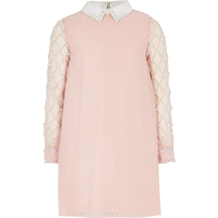 Girls pink embellished long sleeve dress