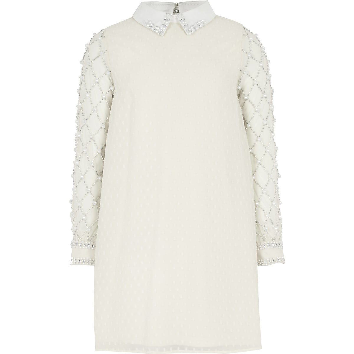 Crèmekleurige met nepparels verfraaide jurk voor meisjes