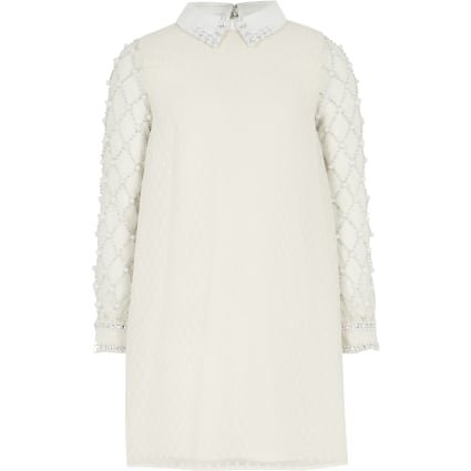 Girls cream faux pearl embellished dress