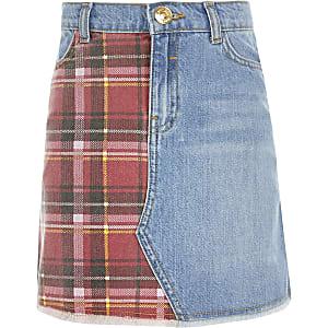 Blauer Jeansrock mit Schottenkaros für Mädchen