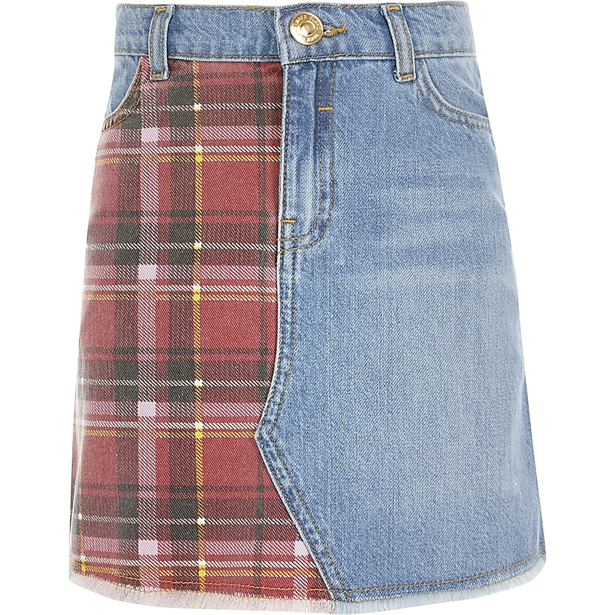 Girls blue tartan check denim skirt
