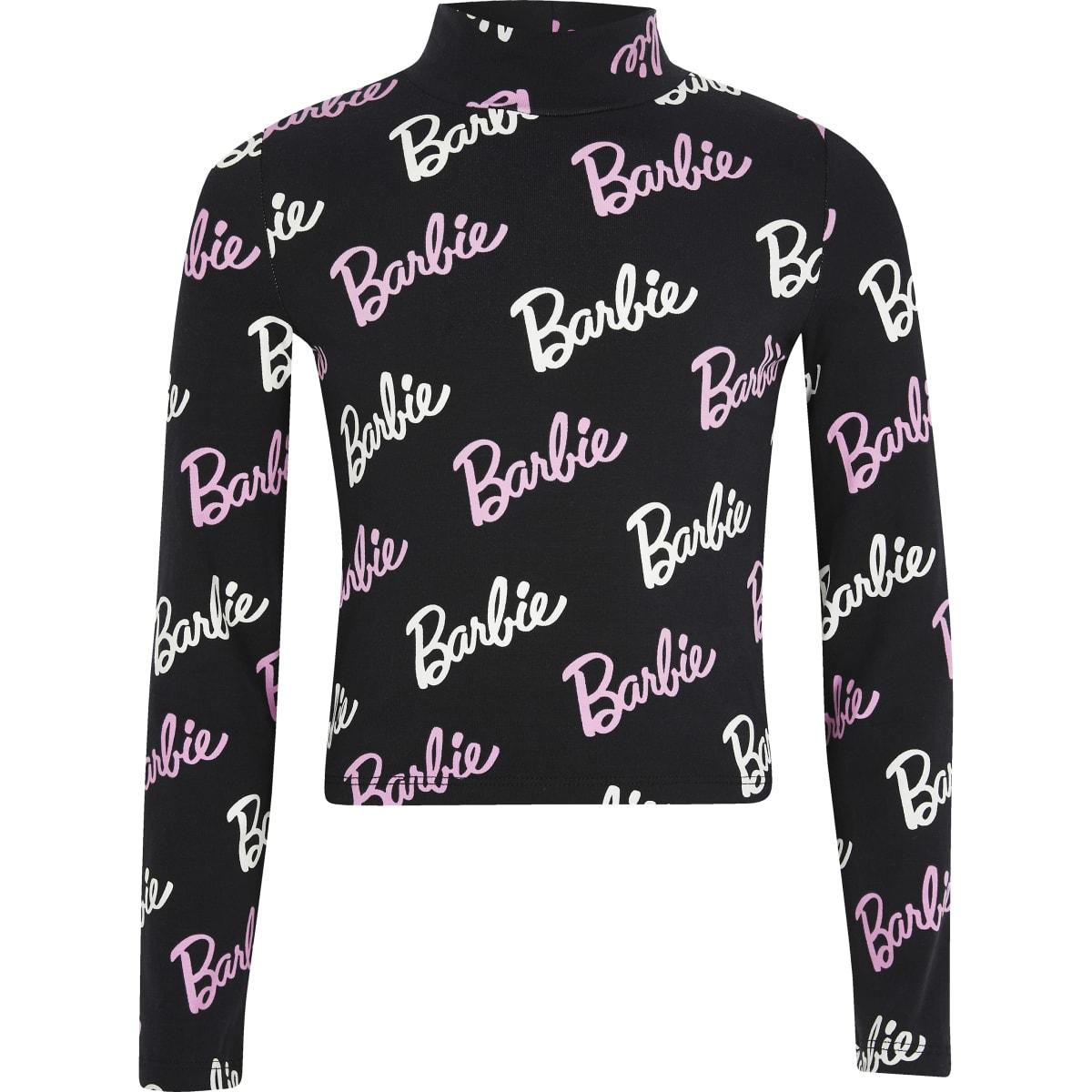 Barbie - Zwart hoogsluitend T-shirt voor meisjes