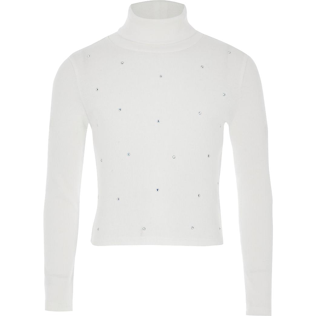 Crèmekleurig geribbeld T-shirt met col en siersteentjes voor meisjes