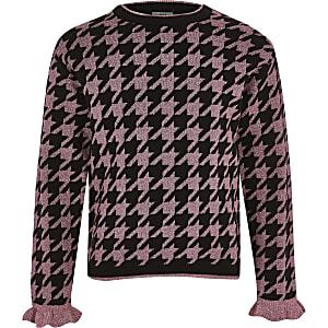 Roze metallic gebreide pullover met pied-de-poule-motief voor meisjes