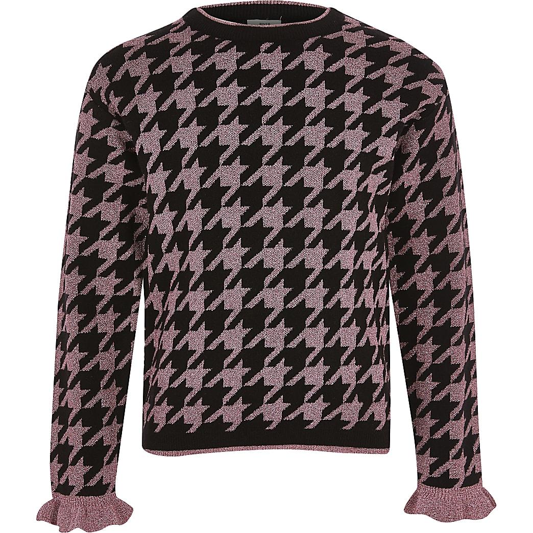 Girls pink metallic houndstooth knit jumper