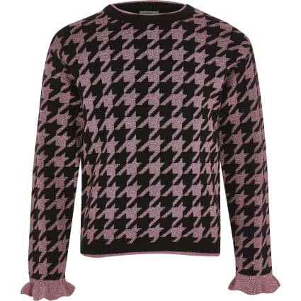 Girls pink metallic houndstooth knit jumper