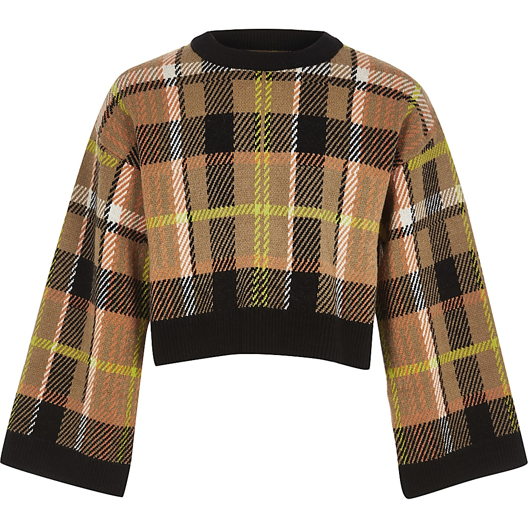 Girls brown check cropped knit jumper