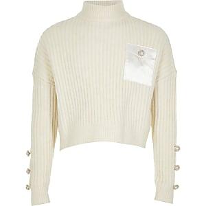 Crèmekleurige ruimvallende gebreide cropped pullover voor meisjes