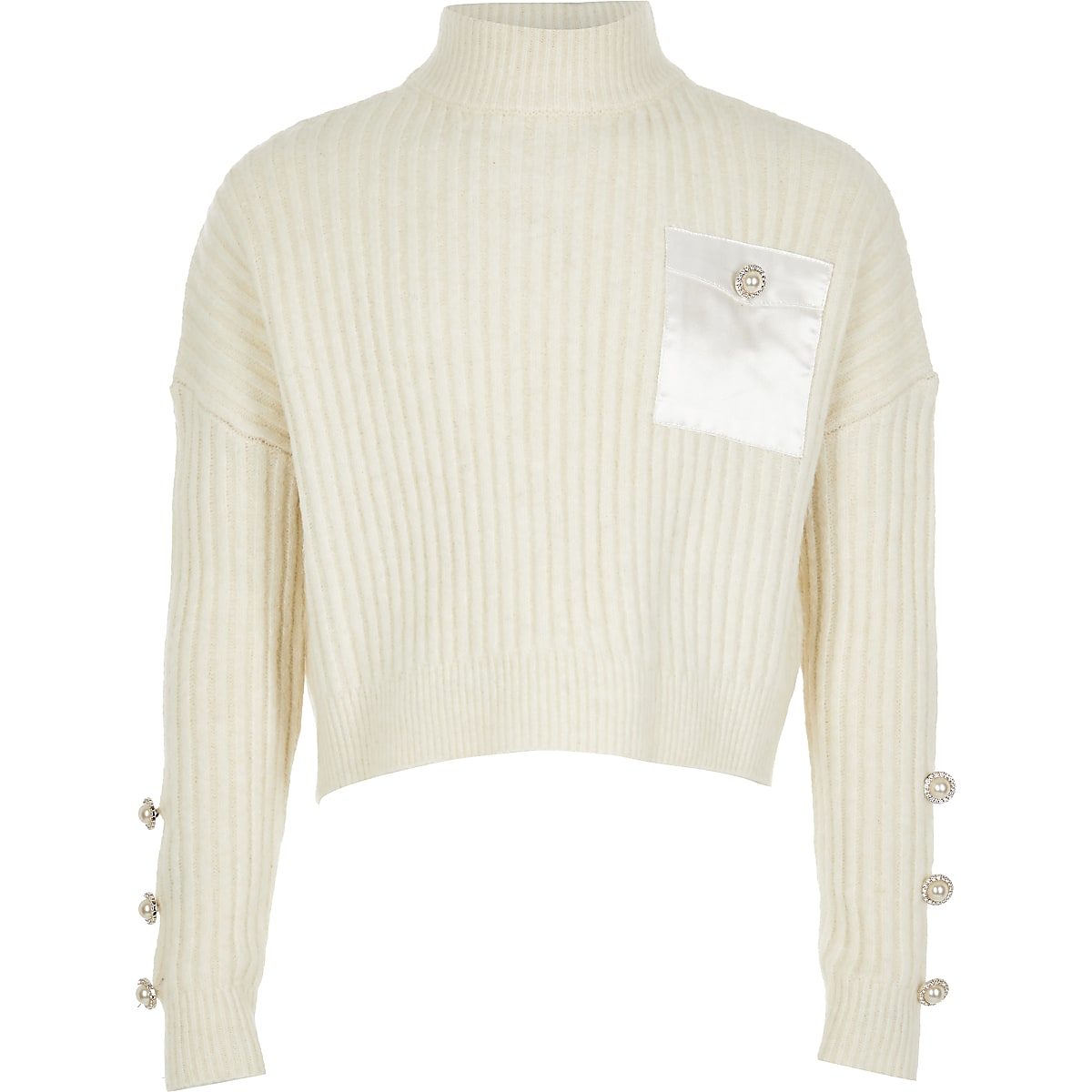 Girls cream slouch cropped knitted jumper