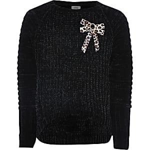 Schwarzer Pullover mit Leopardenprint und Chenille-Schleife für Mädchen