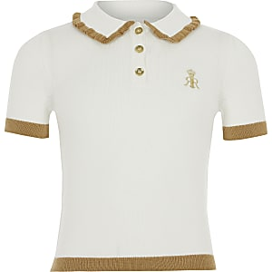 Girls cream knitted polo shirt