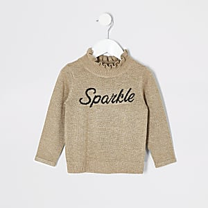 Pull doré « Sparkle » à volants Mini fille