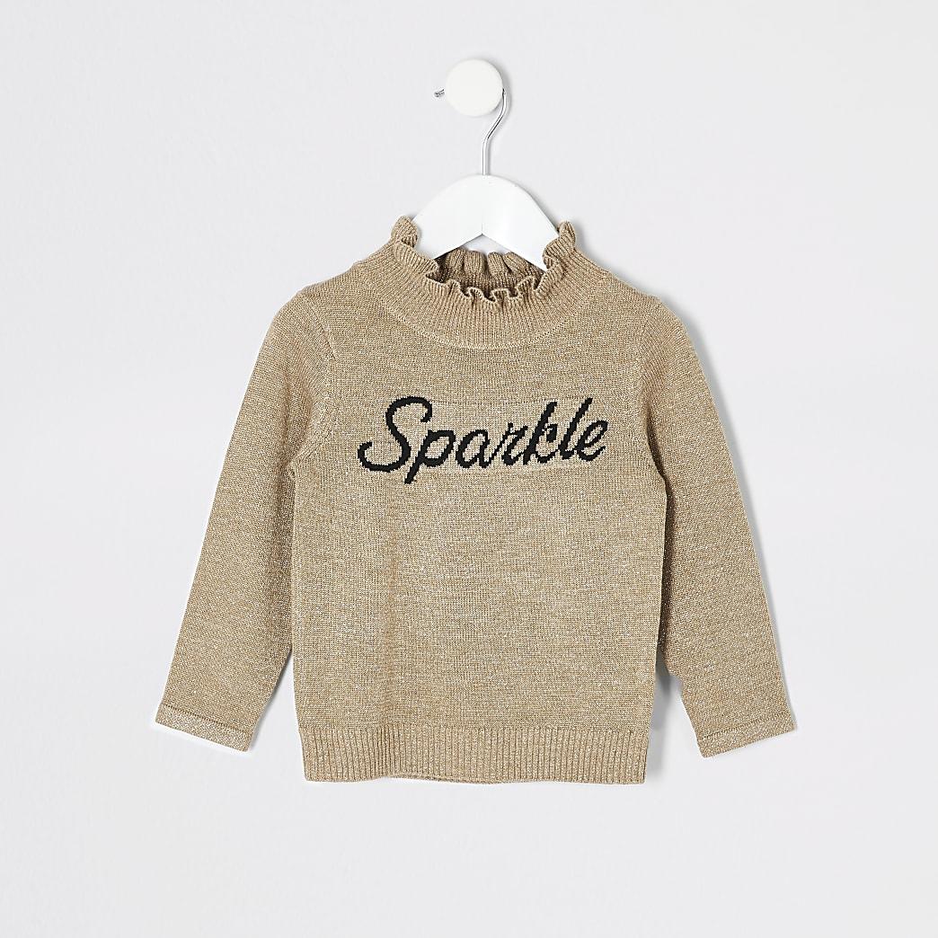Mini girls gold 'Sparkle' frill jumper