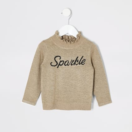 Mini girls gold 'Sparkle' frill jumper