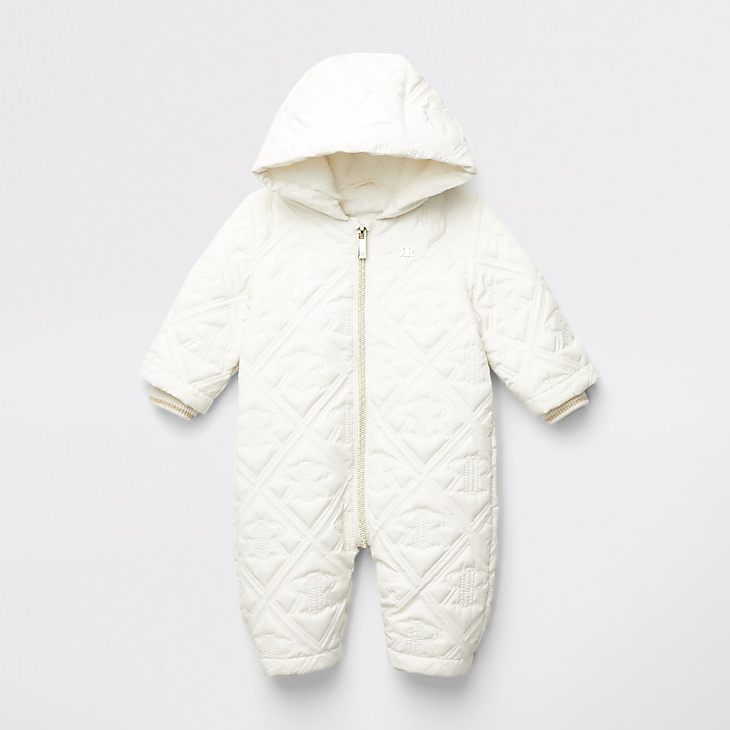 Baby cream RI embossed quilted snowsuit