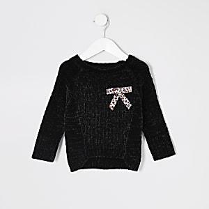 Mini - Zwarte ruimvallende chenille pullover met strik voor meisjes